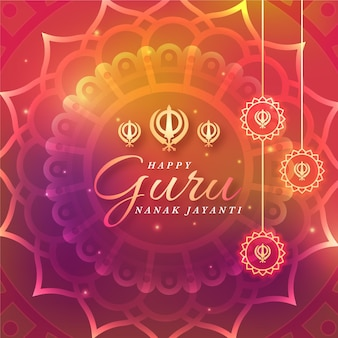 Guru del design piatto nanak jayanti gradiente di luce