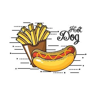 Gustose patatine fritte francese e hot dog