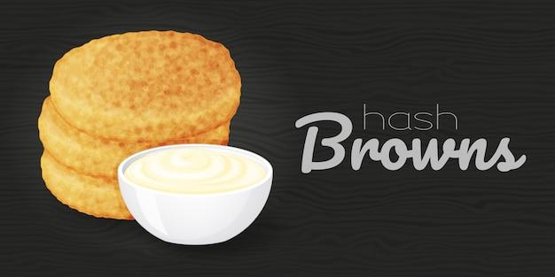 Gustosi hash browns con salse su legno sfondo nero. illustrazione. fast food. stile cartone animato.