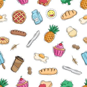 Gustoso cibo per la colazione in seamless con stile doodle colorato