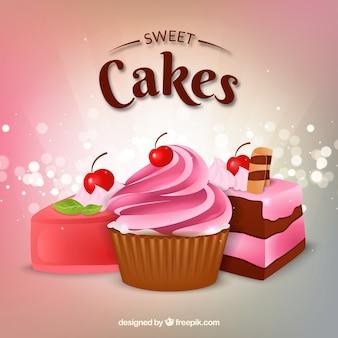 Gustoso sfondo di torta in stile realistico