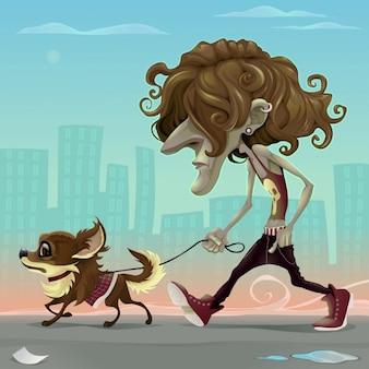 Guy con il cane a piedi per la strada vector cartoon illustrazione