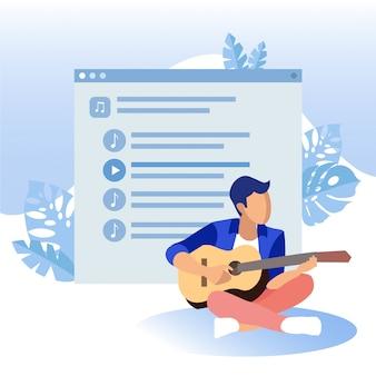 Guy suona la chitarra nella schermata di sfondo della playlist