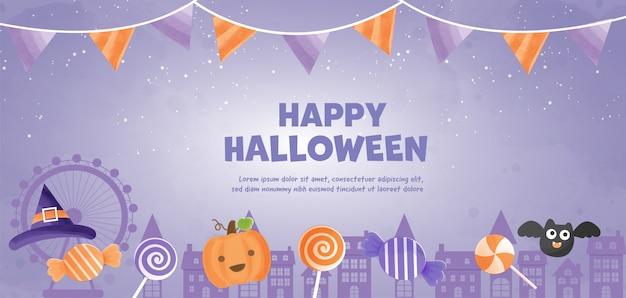 H buon halloween con strega carina e caramelle in stile acquerello.