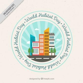 Habitat mondiale giorno sfondo di badge con grattacieli