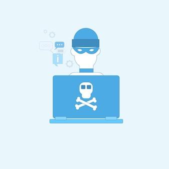 Hacker activity computer virus protezione dei dati privacy internet information security web banner ve