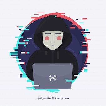 Hacker anonimo con design piatto