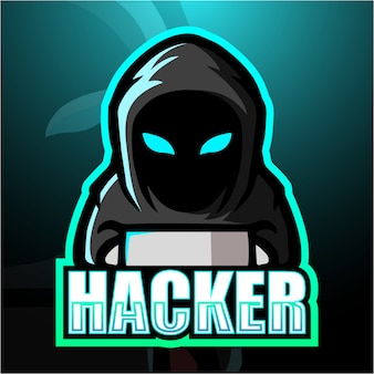 Hacker mascotte esport illustrazione