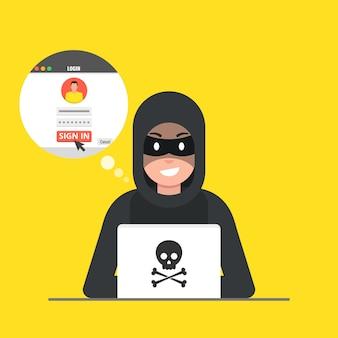 Hacker seduto sul desktop e hackerando il login utente