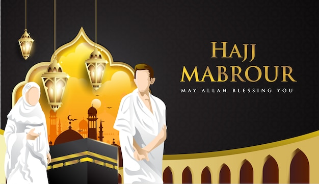 Hajj mabrour sfondo con kaaba, uomo e donna hajj character