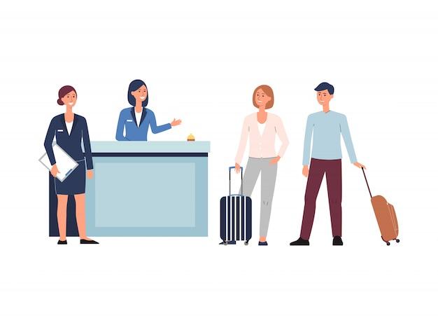 Hall della reception dell'hotel - persone animate con bagagli che effettuano il check-in con il personale