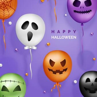 Halloween 3d palloncini sullo sfondo