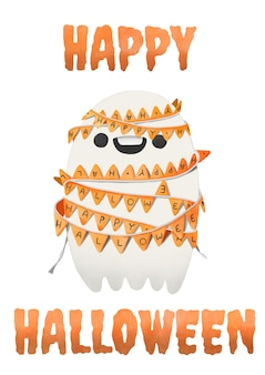 Halloween, acquerello fantasma legato con bandiere di partito.