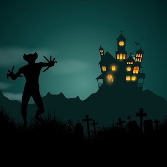 Halloween background con casa infestata e figura demoniaca