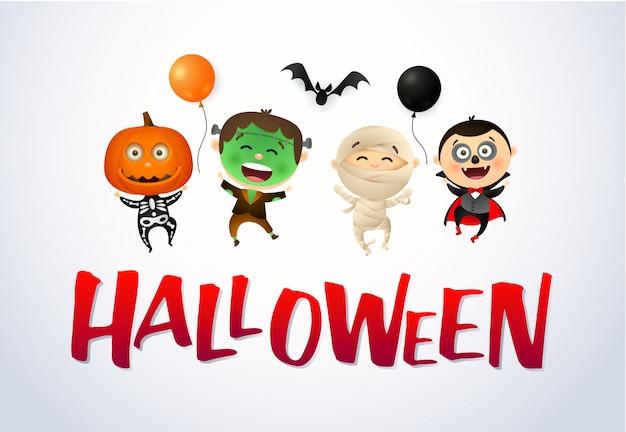 Halloween con bambini felici che indossano costumi di mostri