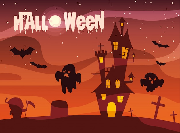 Halloween con castello e fantasmi