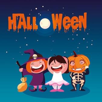 Halloween con i bambini mascherati