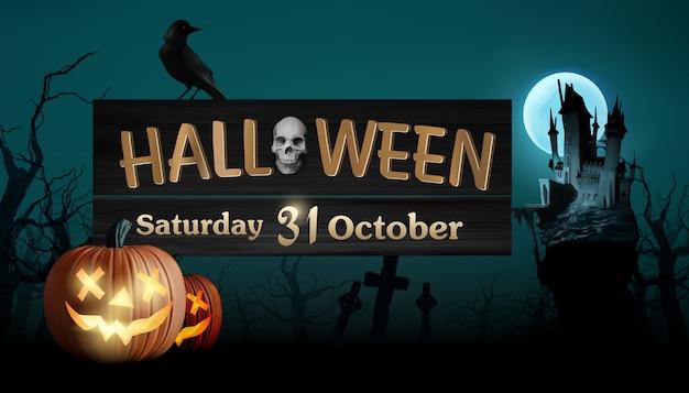 Halloween con lettere d'oro appese al castello scuro.