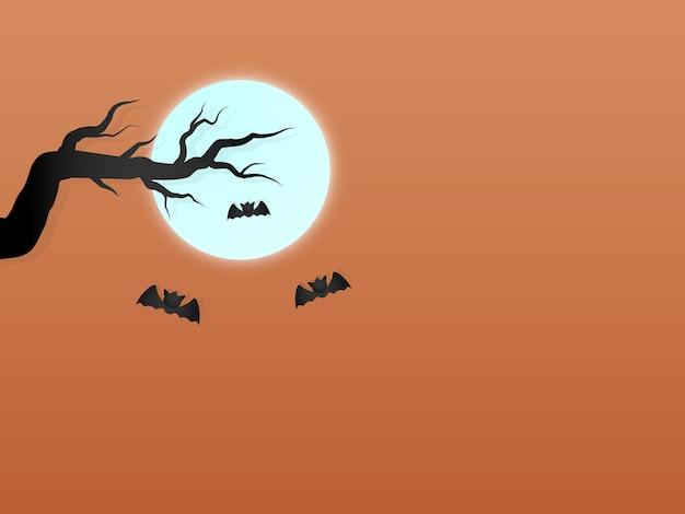 Halloween con lo spazio del testo della luna arancio del cielo e del pipistrello dell'albero