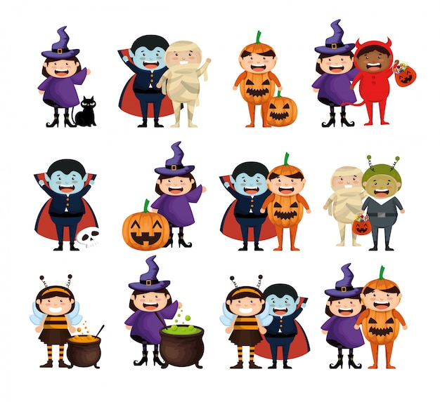 Halloween con set di bambini in costume