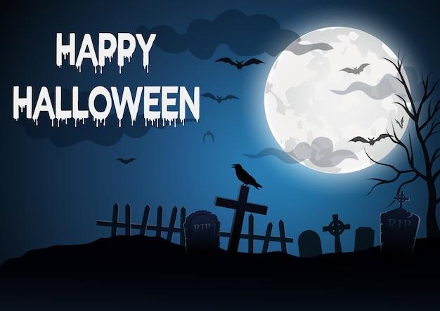 Halloween, con uno sfondo tomba, illustrazione vettoriale