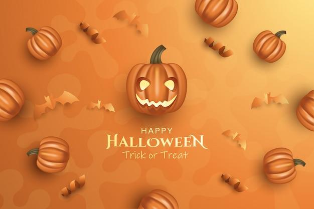 Halloween con zucca e nastro su sfondo marrone chiaro