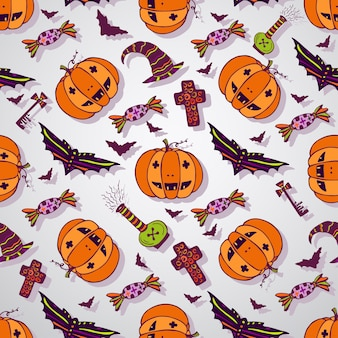 Halloween disegna lo sfondo. disegnata a mano senza soluzione di continuità celebrazione