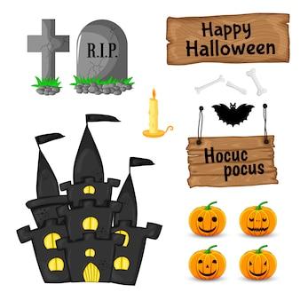 Halloween ha messo con gli attributi tradizionali su fondo bianco. stile cartone animato. .