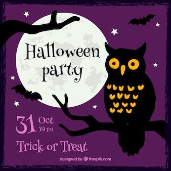 Halloween invito a una festa con un gufo