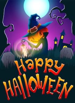 Halloween jack la zucca nel cimitero