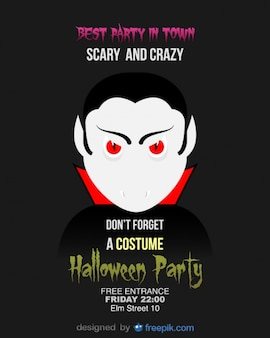 Halloween party flyer template dracula