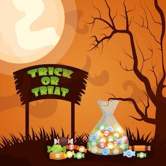 Halloween scuro con sacchetto di caramelle