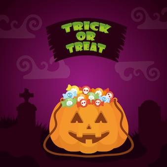 Halloween scuro con zucca e caramelle