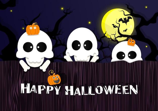 Halloween sfondo di scheletri sul muro nel cimitero.