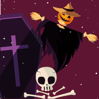 Halloween spaventapasseri e teschio