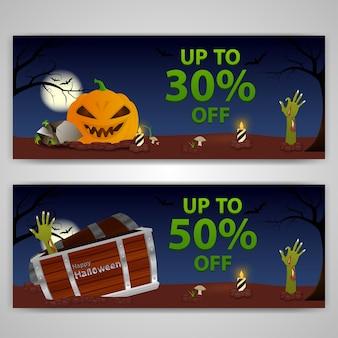Halloween. un banner con una zucca e uno zombi.