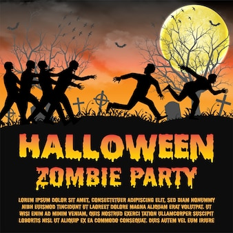 Halloween zombie party con fuga di zombie
