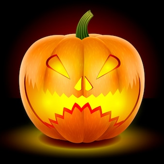 Halloween, zucca con una spaventosa maschera ringhiante.