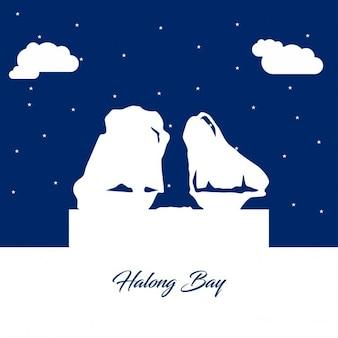 Halong bay silhouette astratto su sfondo di carta blu