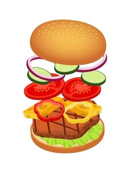 Hamburger 3d con gli ingredienti, concetto degli alimenti a rapida preparazione