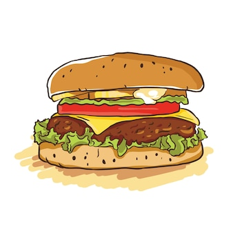 Hamburger cartoon iluustration