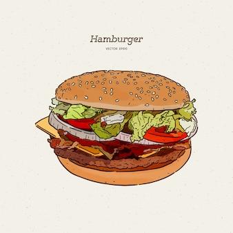 Hamburger con carne e formaggio illustrazione. schizzo di tiraggio della mano.