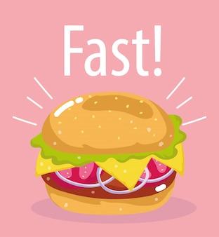 Hamburger con pomodoro, cipolla e formaggio