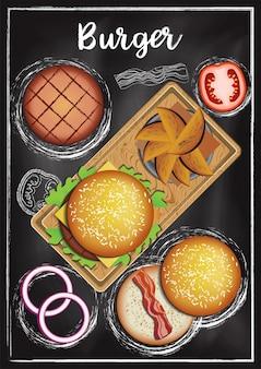 Hamburger con sfondo di lavagna