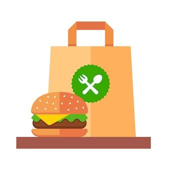 Hamburger da asporto in un sacchetto di carta. illustrazione piatta