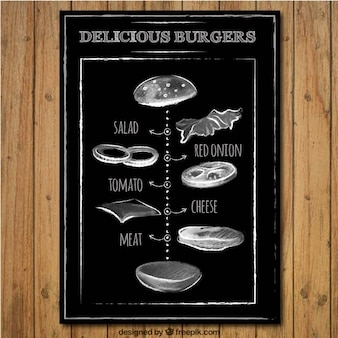 Hamburger delizioso in stile lavagna