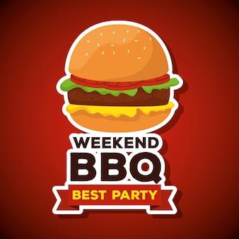 Hamburger di cartone animato con il testo