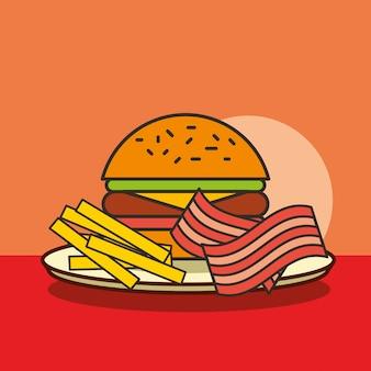 Hamburger di fast food, patatine fritte e pancetta