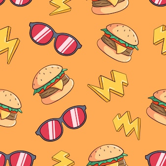 Hamburger e occhiali da sole disegnati a mano senza cuciture