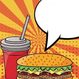 Hamburger e soda fast food in stile pop art